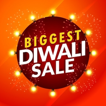 Bright red discount voucher for diwali