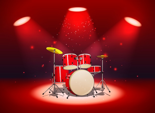 Bright red drum set in the light of spotlights