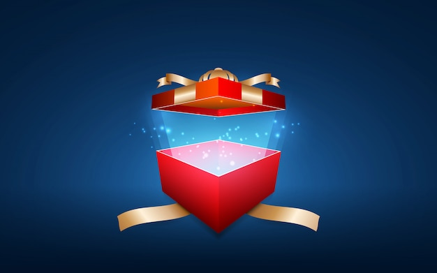 Bright red gift box with shining stars.