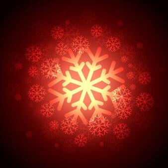 明るい赤の雪片の背景