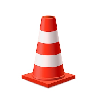 Bright red and white road cone  on white