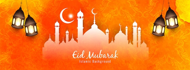 Bright religious eid mubarak banner design