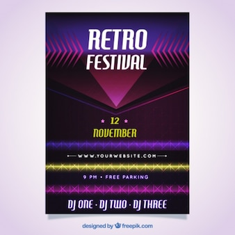 Bright retro festival brochure