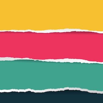 그라디언트 메쉬와 밝은 찢어진 종이 큰 세트.