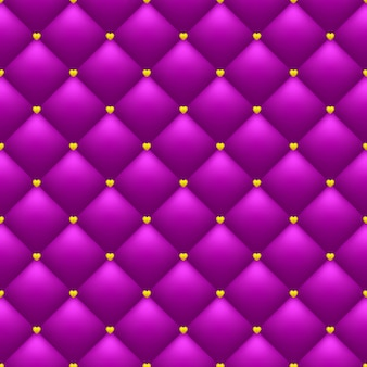 Bright romantic seamless pattern. quilted pink background. golden hearts.