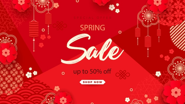 Bright sales banner with chinese elements for new year. modern style, geometric decorative ornaments.