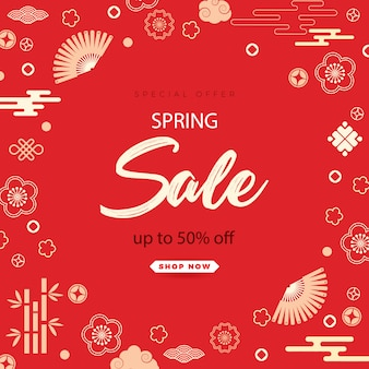 Bright sales banner with chinese elements