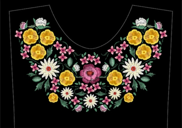 Bright satin stitch embroidery design with flowers. folk line floral trendy pattern for dress neckline. ethnic colorful fashion ornament for neck on black background.