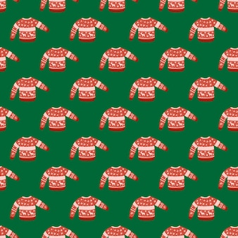 Bright seamless christmas pattern with warm sweater. red cozy clothes