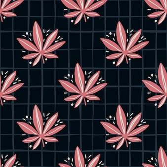 Bright seamless marijuana pattern. black background with check and pink tones cannabis leaves.