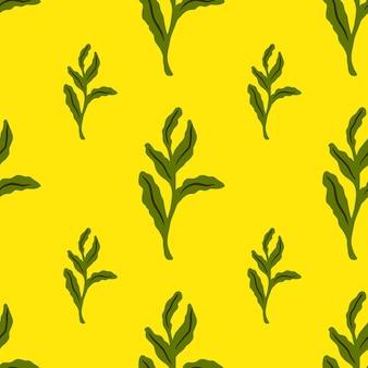 Яркий бесшовный образец природы с силуэтами ветвей зеленых тропических листьев