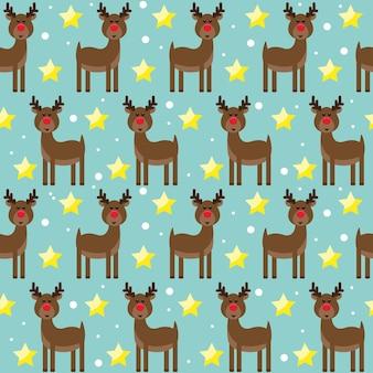 雪の結晶を描くサンタクロースそりから面白い漫画の鹿と明るいシームレスなパターンの背景