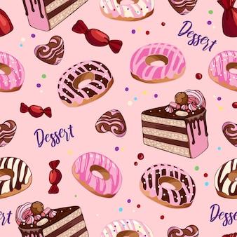 明るくシームレスなパターンのデザートフードおいしいドーナツケーキキャンディー