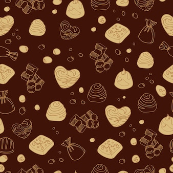 明るくシームレスなパターンのデザートフードミルクチョコレートキャンディーのおいしい作品