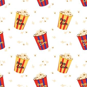 영화관 영화 산업을 위한 팝콘 프린트가 있는 축제 상자가 있는 밝고 매끄러운 패턴
