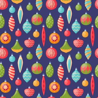 크리스마스 트리 장식, 벡터 일러스트와 함께 밝은 원활한 패턴