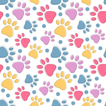 Bright seamless pattern with colorful pets paws on white cat or dog animal footprint background