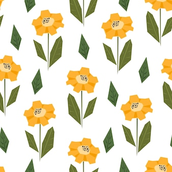 Bright seamless pattern with cute simple yellow and orange sunflowers in scandinavian style