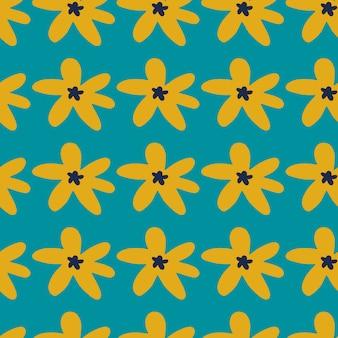 背景色が水色にデイジーの花と明るいシームレスパターン。黄色の植物飾り。シンプルなデザイン。