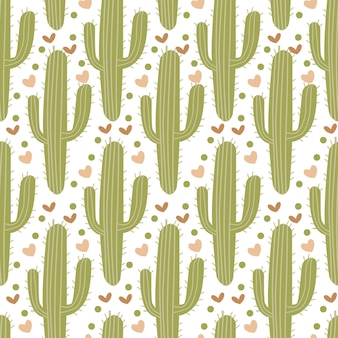 Bright seamless pattern with different cactus