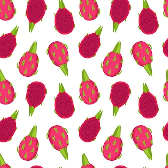 Bright seamless pattern with dragon fruits. piitaya background, vector illustration