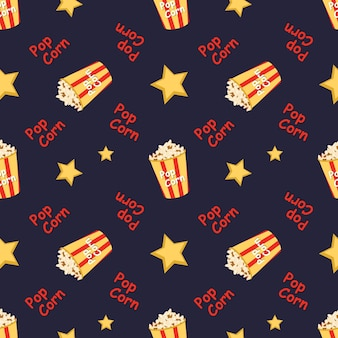 Bright seamless pattern with a festive box with popcorn words and stars bright print for cinema thea...