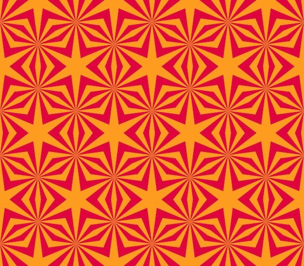 幾何学的な星と明るいシームレスパターン