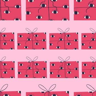 크리스마스 선물과 함께 밝은 원활한 패턴