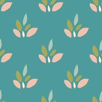 Яркий бесшовный узор с листьями орнаментом в розовых, зеленых и синих тонах.
