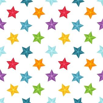 白い背景の上のマルチカラーの星と明るいシームレスパターン。