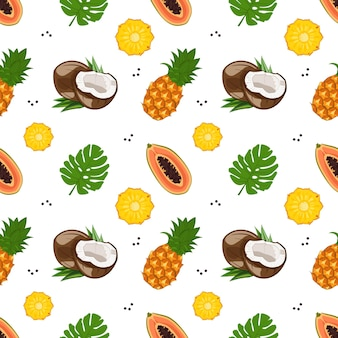 Bright seamless pattern with papaya, coconut and pineapple.