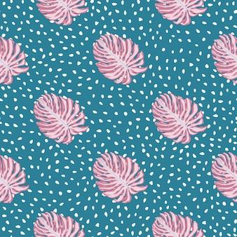 ピンクのモンステラの葉のシルエットがプリントされた明るいシームレスパターン。青い点線の背景。ファブリックデザイン、テキスタイルプリント、ラッピング、カバーの装飾的な背景。ベクトルイラスト。
