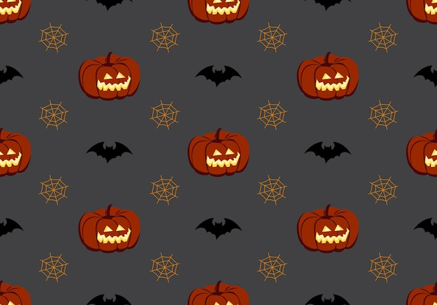 Bright seamless pattern with pumpkins bats and spiders web festive autumn decoration for halloween h...