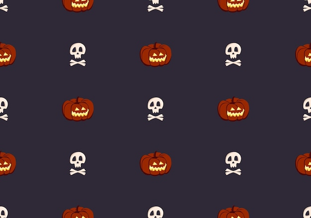 Bright seamless pattern with pumpkins and skulls festive autumn decoration for halloween holiday oct...