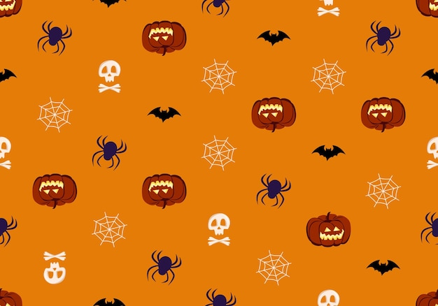 Bright seamless pattern with pumpkins skulls and spiders festive autumn decoration for halloween hol...