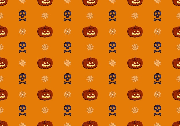 Bright seamless pattern with pumpkins skulls and spiders web festive autumn decoration for halloween...