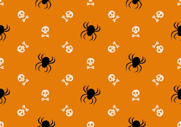 Bright seamless pattern with skull crossbones and spiders on orange background fashion print for kid...