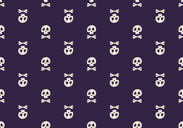 Bright seamless pattern with skulls and crossbones on a dark background fashion print for kids party...