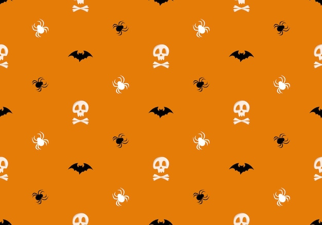 Bright seamless pattern with skulls and crossbones spiders and bats on orange background fashion pri...