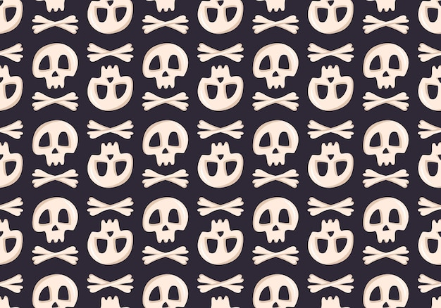 Bright seamless pattern with skulls