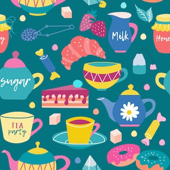Bright seamless pattern with sweets for breakfast with tea or coffee