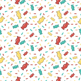Bright seamless pattern with sweets and confetti pieces of paper. festive print for holiday, birthday, new year and design