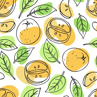 みかんの果実と葉の明るいシームレスパターン手描きベクトル落書きスケッチ