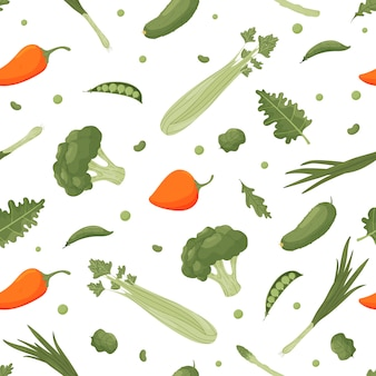 Bright seamless pattern with vegetables.  illustration