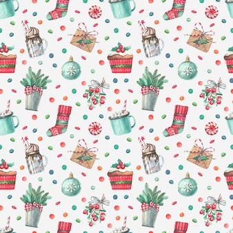 Bright seamless pattern with watercolor christmas illustrations.
