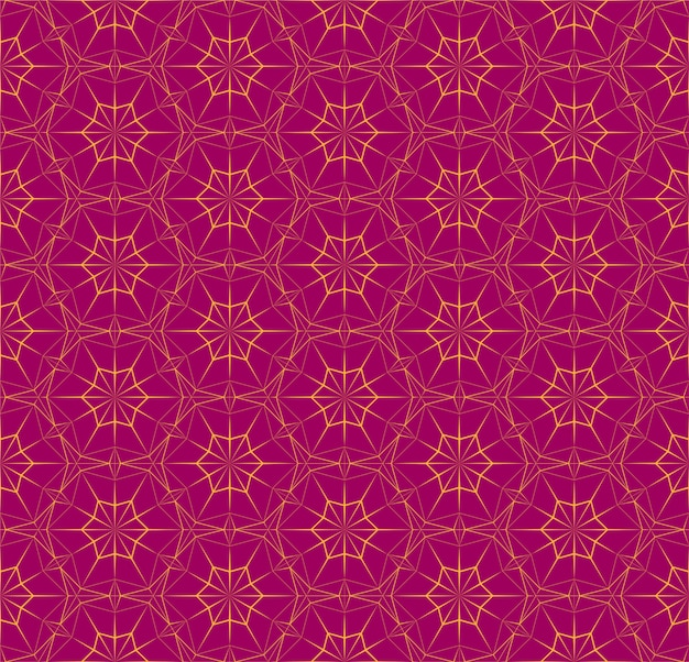 Bright seamless polygonal pattern with triangles. fuchsia color texture with orange thin lines.  geometric illustration for background, wallpaper, interior, textile, wrapping paper print .