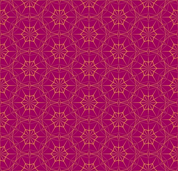 三角形の明るいシームレスな多角形パターン。オレンジ色の細い線とフクシア色のテクスチャです。背景、壁紙、インテリア、繊維、包装紙印刷の幾何学的なイラスト。