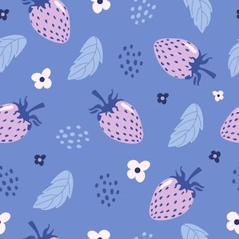 밝고 매끄러운 여름 패턴 섬세한 딸기 꽃은 파스텔 보라색 색상으로 딸기를 남깁니다