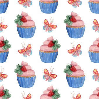 Bright seamless watercolor pattern with butterflies strawberries and cupcakes