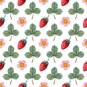 Bright seamless watercolor pattern with strawberries leaves and flowers